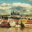 Retro postcard with praha - Stock Photo