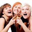Happy women with Champagne — Stock Photo