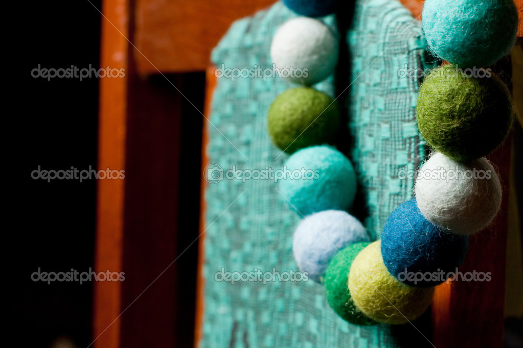 Postcard with green beads — Stock Photo #4745475