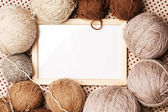 Photoframe with brown yarn — Stock Photo