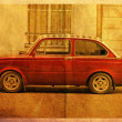 Postcard red car — Foto de Stock