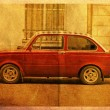 Postcard red car — Stockfoto
