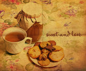 Tea with honey and cookies — 图库照片