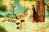 Beauty young woman on tree in the sky — Stock Photo