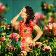 Fairy image with beauty young woman in the flowers — Stock Photo #5156399