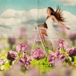 Beauty young woman in dress on the meadow - Stock Photo