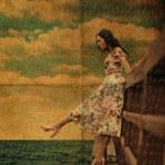 bellezza youn donna sul ponte — Foto Stock #5188487