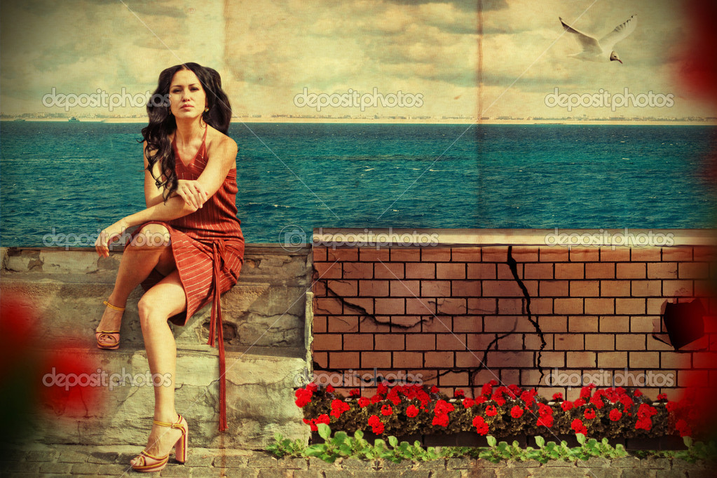 Art collage. beauty young woman near the sea — Lizenzfreies Foto #5230658