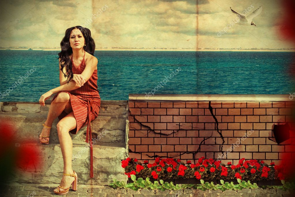 Art collage. beauty young woman near the sea — Stockfoto #5230658