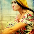 Beauty woman in yellow hat — Stockfoto #5371025