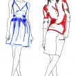 SKETCH. fashion girls — Stockvectorbeeld