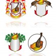 Royalty-Free Stock Vector Image: Set heraldic symbols on subjects of cleanliness, health and Russian bath