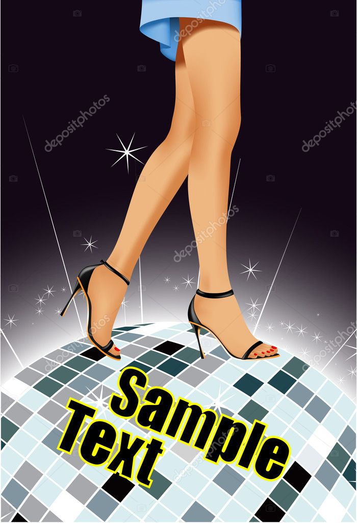 Beautiful female feet on a mirror ball. A vector background of a party — Imagen vectorial #4051167