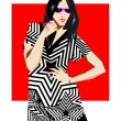 Stock Vector: Fashion pop-art girl illustration