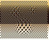 Siatki złote tło wektor z bąbelkami. złota tekstura. — Wektor stockowy
