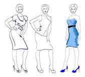 SKETCH. fashion girls — Stock Vector