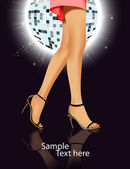 Beautiful female feet on a mirror ball. A vector background of a — Stock vektor