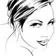 Hand-drawn fashion model. Vector illustration. Woman — Imagen vectorial