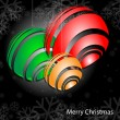 Christmas background with baubles, And snowflakess — Stock Vector