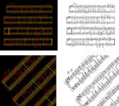 Abstract set of phonocentury the Music book with the notes writt — Stockvector