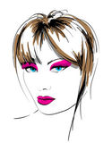 Hand-drawn fashion model. Vector illustration. — Stock Vector