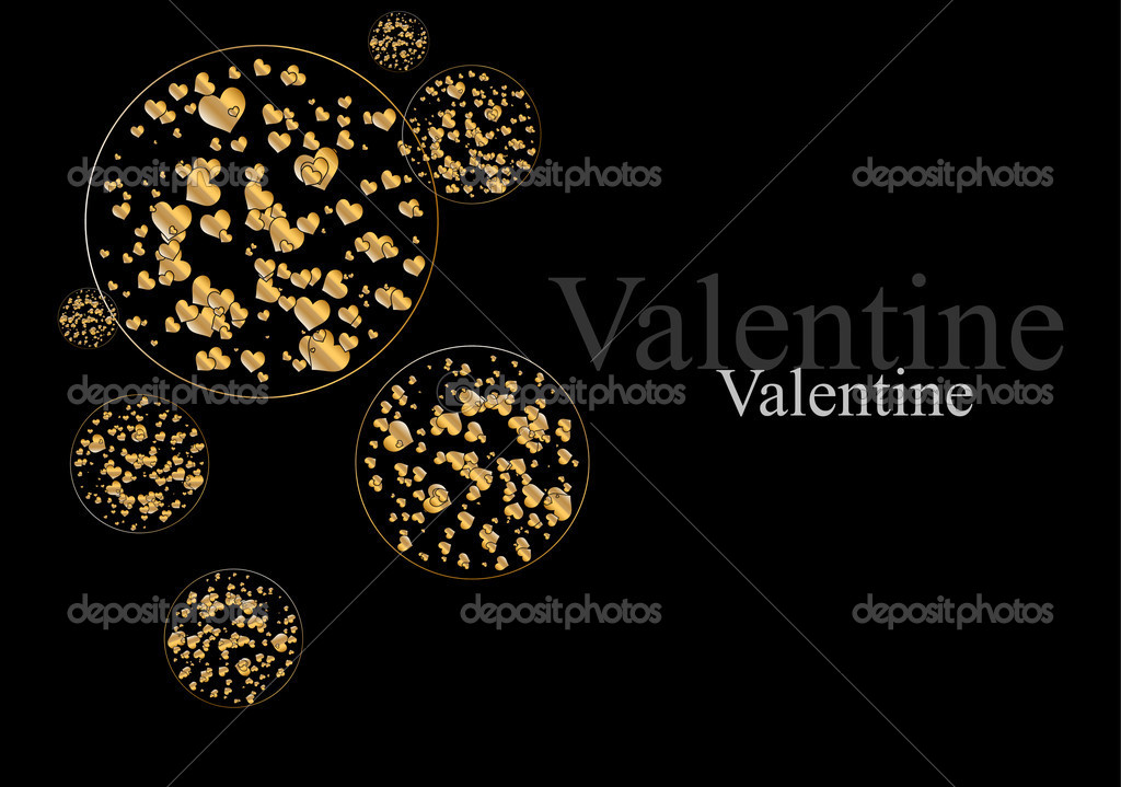 The Valentine's day. Abstract background with gold hearts. Vector. — Stock Vector #4624453