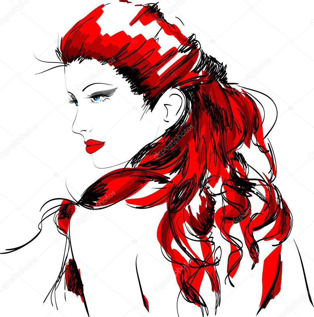 Hand-drawn fashion model. Vector illustration.  Stok Vektr #4624525