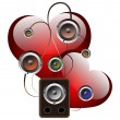 Abstract background with Vector Loudspeakers and hearts. A vecto - Stock Vector