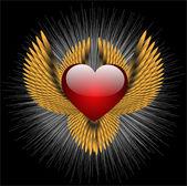 Segno araldico astratto con cuore — Vettoriale Stock
