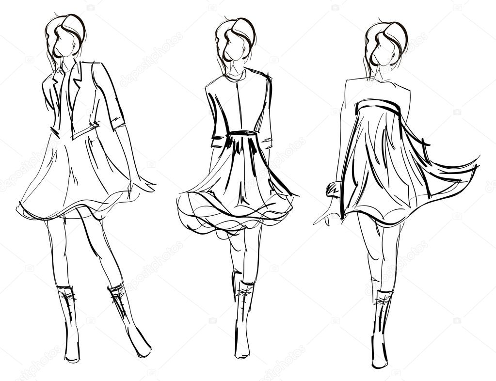Hand drawn fashion model stock vector 169 ice storm 4919762