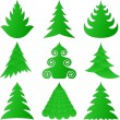 Christmas trees collection — ストックベクター #4129396