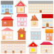 Houses sketches set — Stock Vector