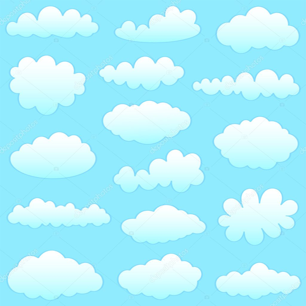 Cartoon clouds against blue sky — Stock Vector #4604211