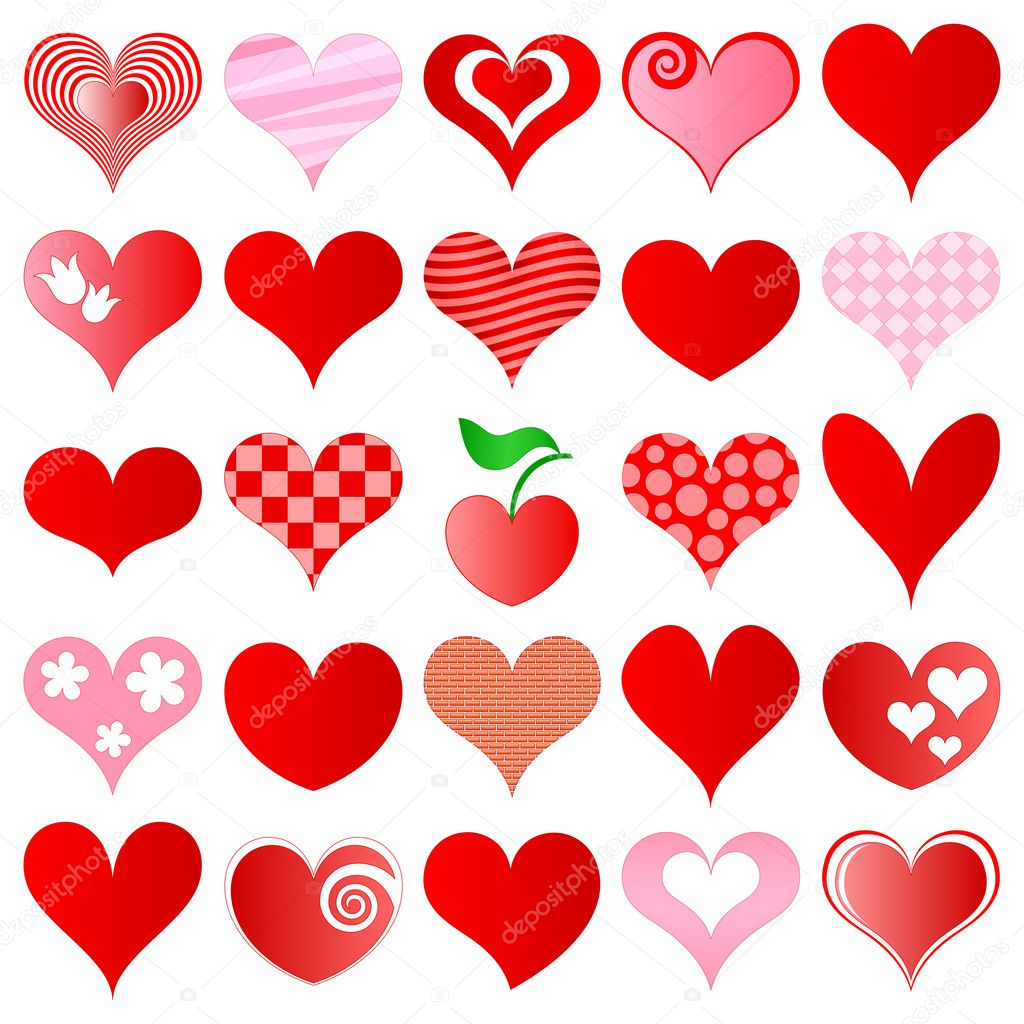 Hearts set for wedding and valentine design — Stock Vector #4634201