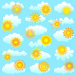 Royalty-Free Stock Vector Image: Sun and clouds collection