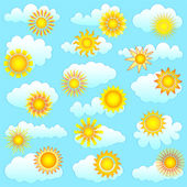 Sun and clouds collection — Stock Vector