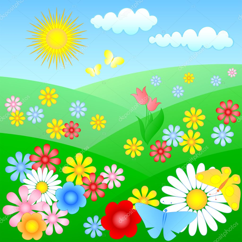 Flowering meadow with butterflies — Stock Vector #4679315