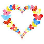 Valentine butterflies heart frame — Stock Vector