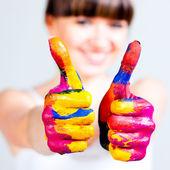 Dívka s barevnými kombinacemi — Stock fotografie