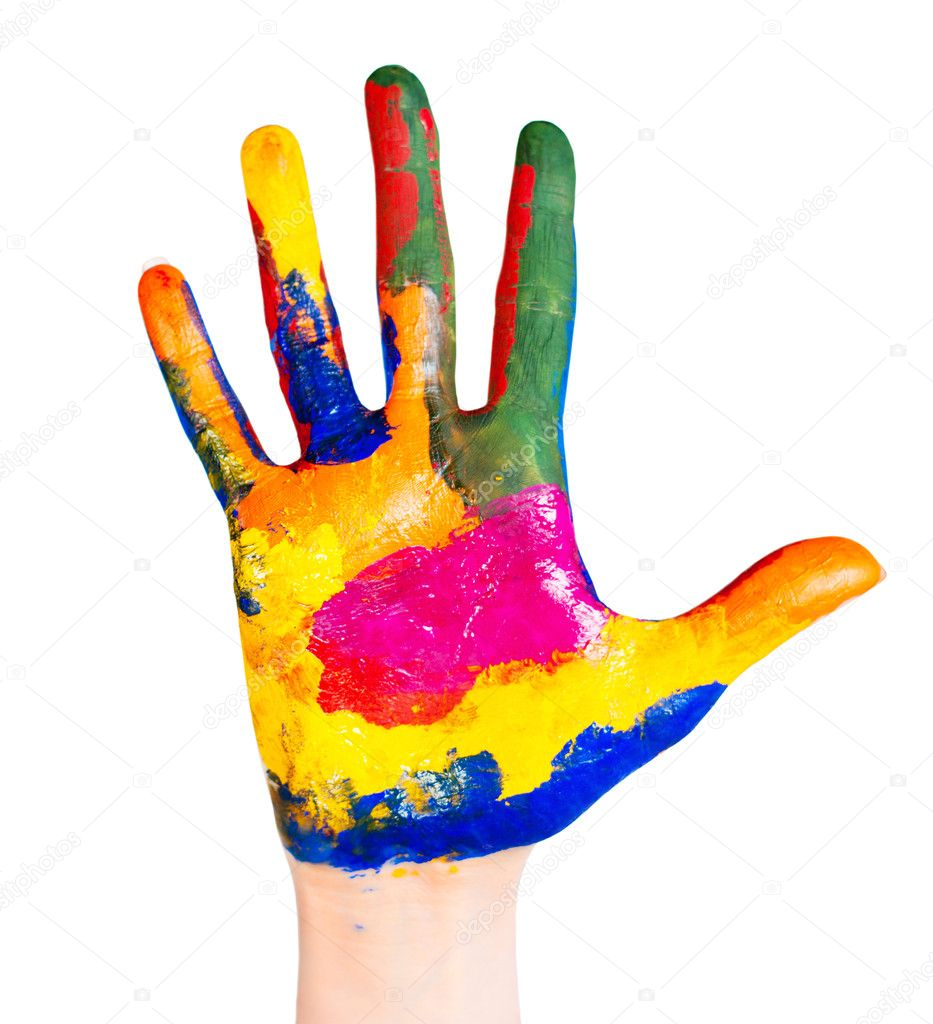 Hand painted in different colors on a white background — Stock Photo #5074774