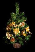 Christmas tree, on a black background — Stock Photo