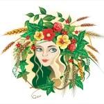 Girl as symbol summer — Stock Vector