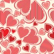 Vector seamless pattern with hearts — Imagen vectorial