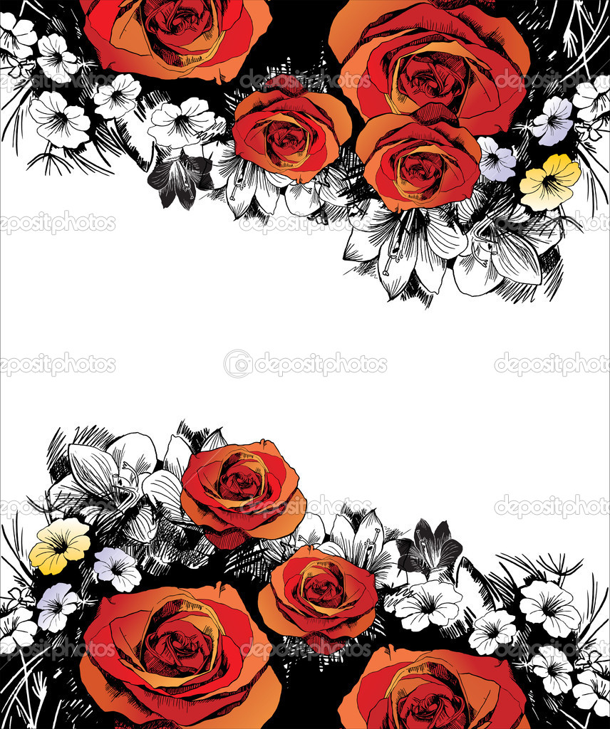 Grunge composition with rose — Stock Vector #4237742