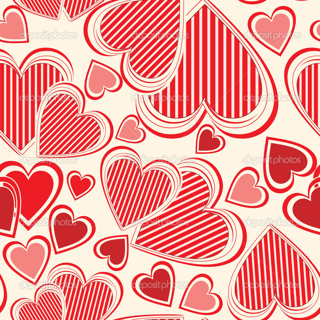 Vector seamless pattern with hearts — Stock Vector #4238122
