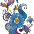 Hand-Drawn Abstract Flowers and Paisley background - 图库矢量图片