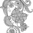 Hand-Drawn Abstract Flowers and Paisley background - Stockvektor