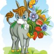 Donkey with flowers - vector illustration. - Stock Vector