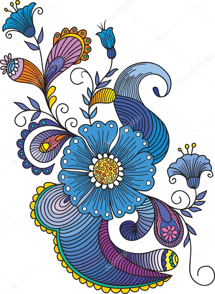 Stock Illustration Hand Drawn Abstract Flowers And Paisley Background