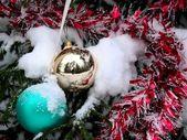 Christmas-tree decoration. Snow. — Stock Photo